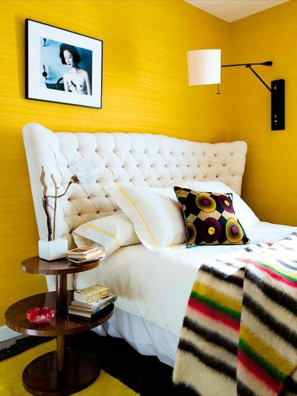 schlafzimmer ideen farbgestaltung sommerpalette gelbe wandgestaltung