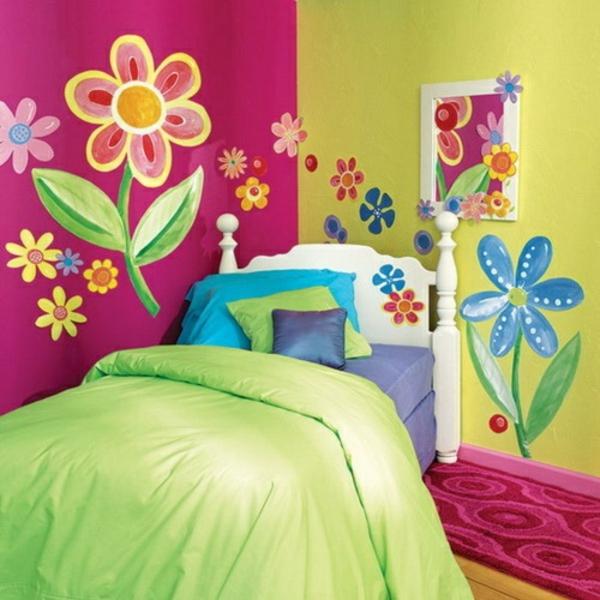 schlafzimmer farbgestaltung sommerpalette grün und rosa