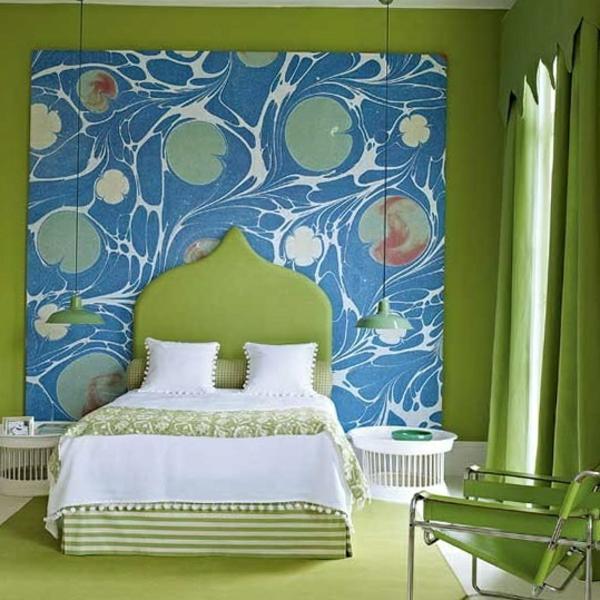 schlafzimmer farbgestaltung sommerpalette grüne gardinen boden