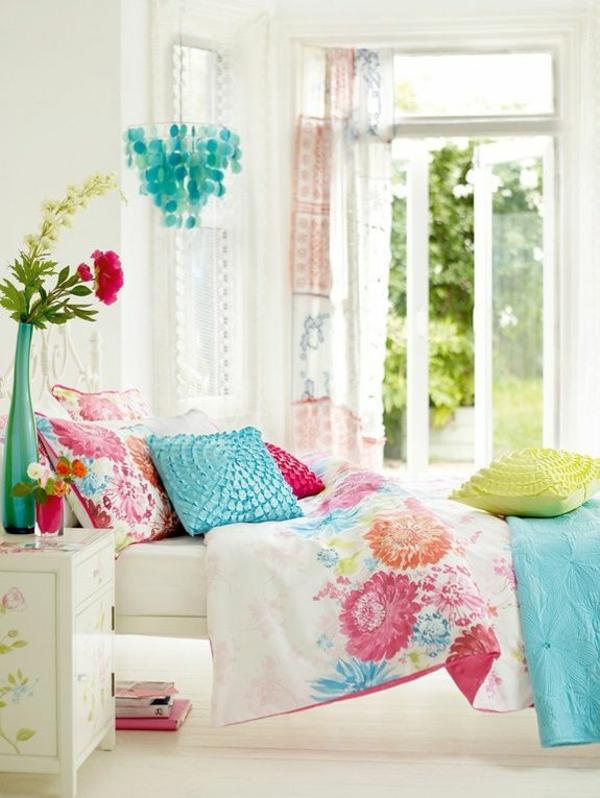 schlafzimmer ideen farbgestaltung sommerpalette grüne leuchten