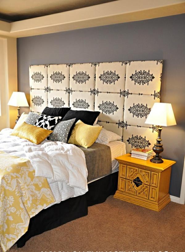 schlafzimmer ideen wohnaccessoires bett kopfteil