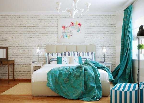 Schlafzimmer modern türkis  Innendesign in Blau und Weiß - frische Farben wirken entspannend