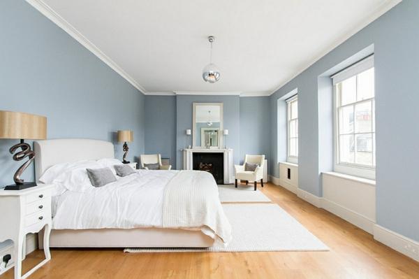 schlafzimmer innendesign bett blaue wandgestaltung
