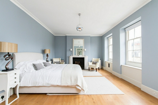 schlafzimmer innendesign bett blaue wandgestaltung - Wandgestaltung Schlafzimmer Dachschrge