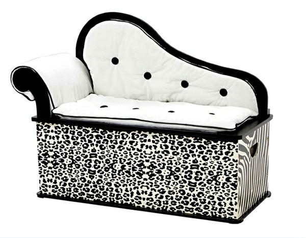 schlafzimmer möbel sitzbank ottomane tiermuster schwarz weiß gepolstert