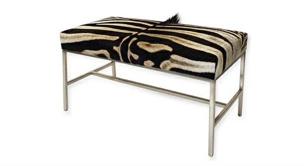 schlafzimmer möbel sitzbank ottomane tiermuster zebramuster fell