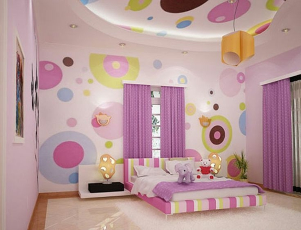 schlafzimmer wandgestaltung design rosa lila - Schlafzimmer Lila Wand