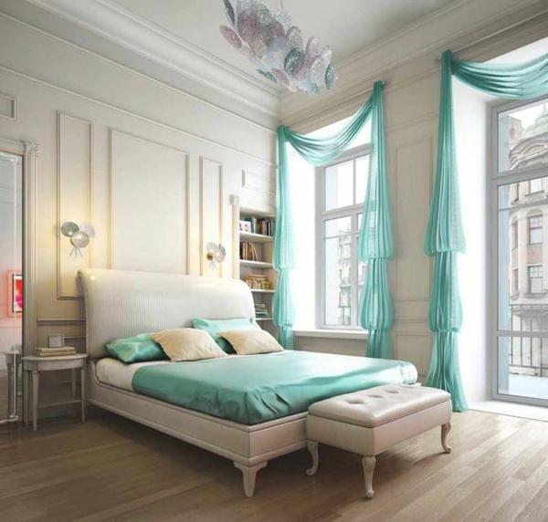 schlafzimmergardinen ideen grün bett bettdecke