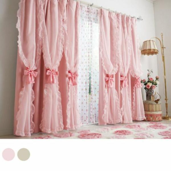schlafzimmer gardinen ideen rosa schleifen