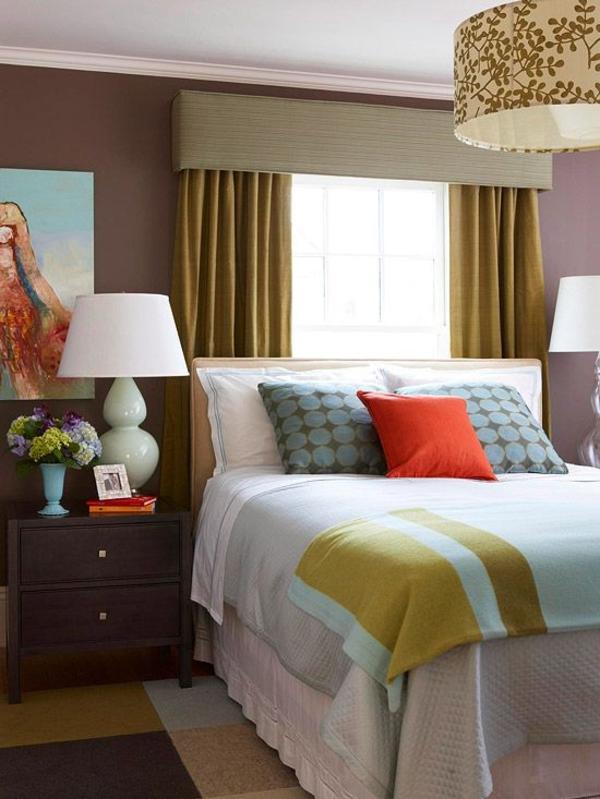 schlafzimmergardinen und vorhänge ideen gelb