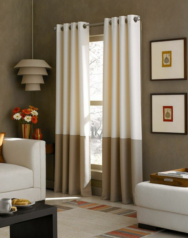schlafzimmergardinen und vorhänge beige und weiß zweifarbig