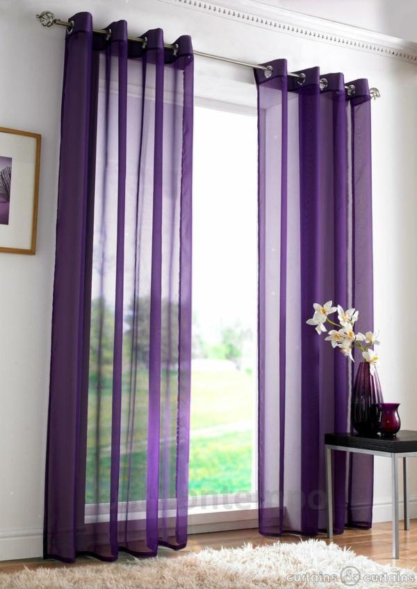 schlafzimmer gardinen und vorhänge lila luftig