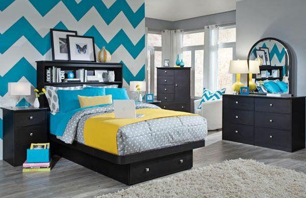 schlafzimmer wandgestaltung zigzag muster bett