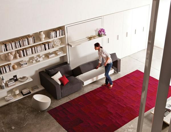 schranksystem klappbett lagerraum sofa teppich