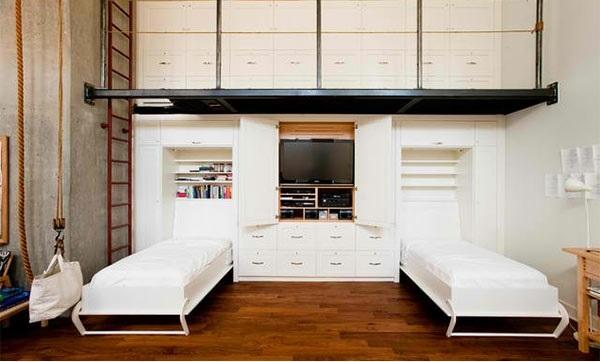 schrankwand mit klappbett wohnideen f r praktische. Black Bedroom Furniture Sets. Home Design Ideas