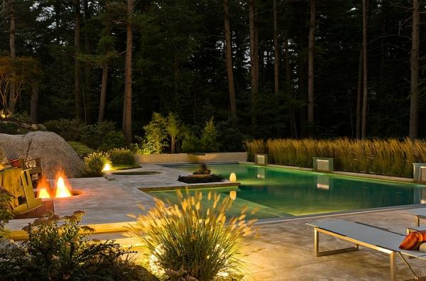 sommer party pool pflanzen lampen und leuchten