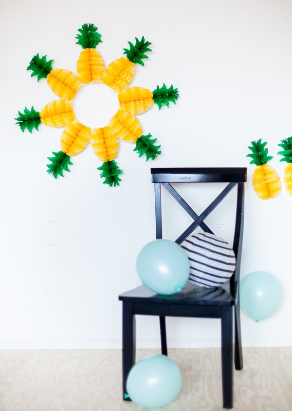 sommerparty deko ideen wanddeko ananas luftbalons
