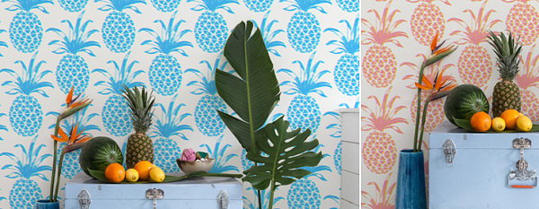 sommerparty deko ideen wandtapete ananas abbildungen obst zimmerpflanzen