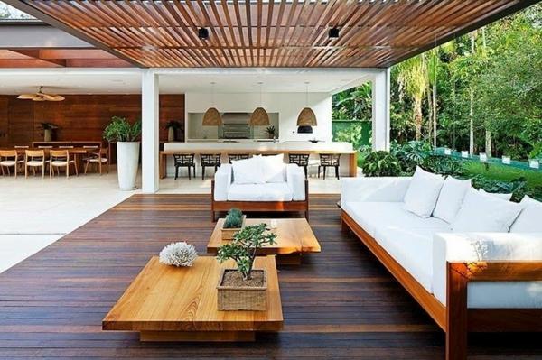 Terrassenmöbel lounge holz  Terrassengestaltung Beispiele - 40 inspirierende Ideen