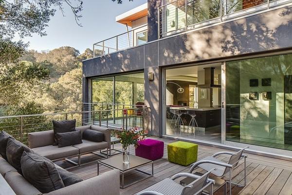 terrassengestaltung beispiele terrassendielen schiebetüre außenbereich gestalten