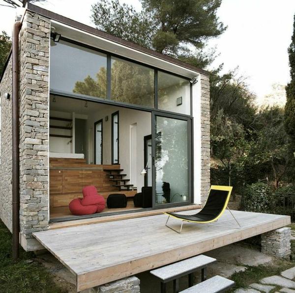 terrassengestaltung ideen beispiele holz stein lounge möbel liege sitzkissen