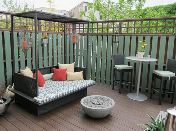 terrassengestaltung outdoor bett dekoideen tisch