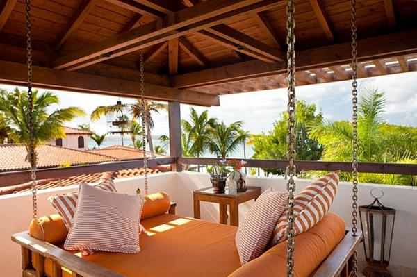 terrassengestaltung patio tropisch oranges