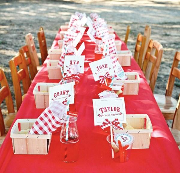 tischdecke rot weiß kariert originelle tischdeko