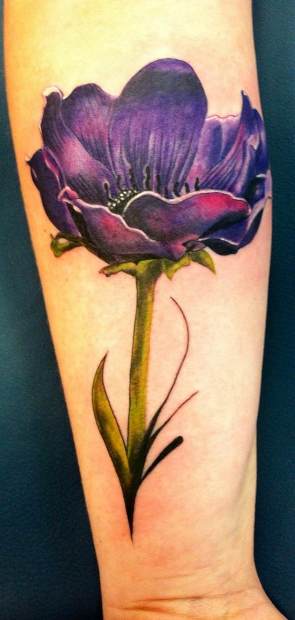 tolle ideen unterarm tattoo frau anemone blume