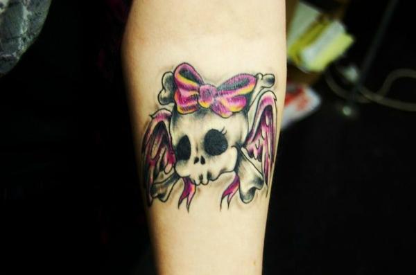 unterarm tattoo totenkopf motiv