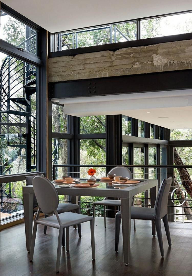 umweltfreundliche architektur residenz essbereich esstisch glaswände