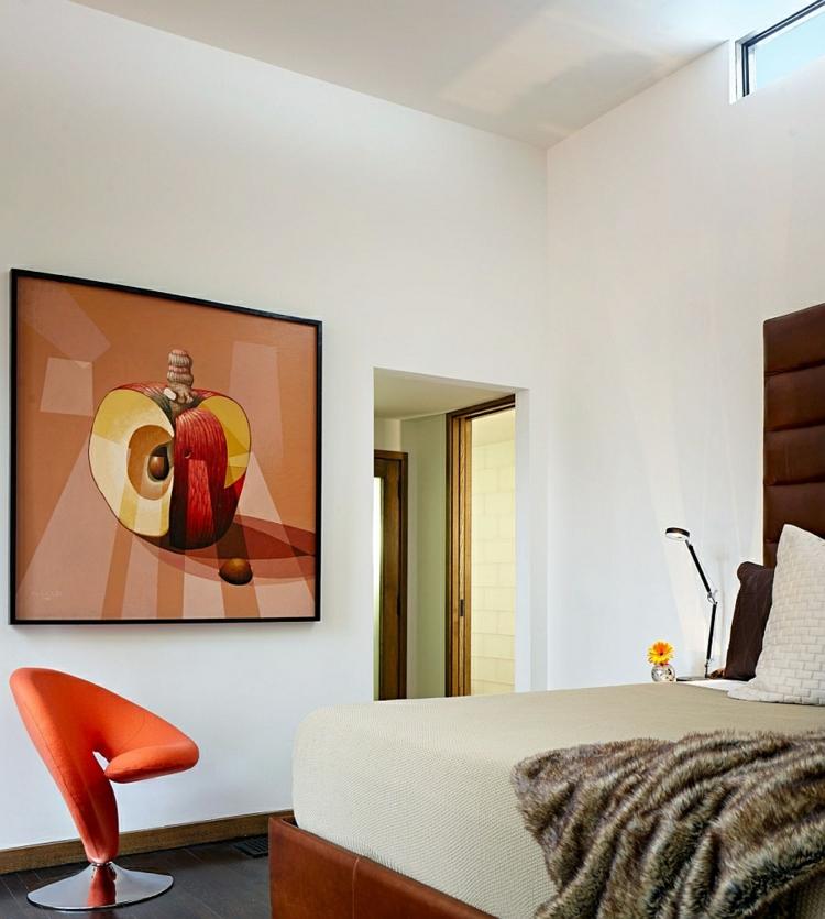 umweltfreundliche architektur residenz schlafzimmer polsterbett wandgemälde