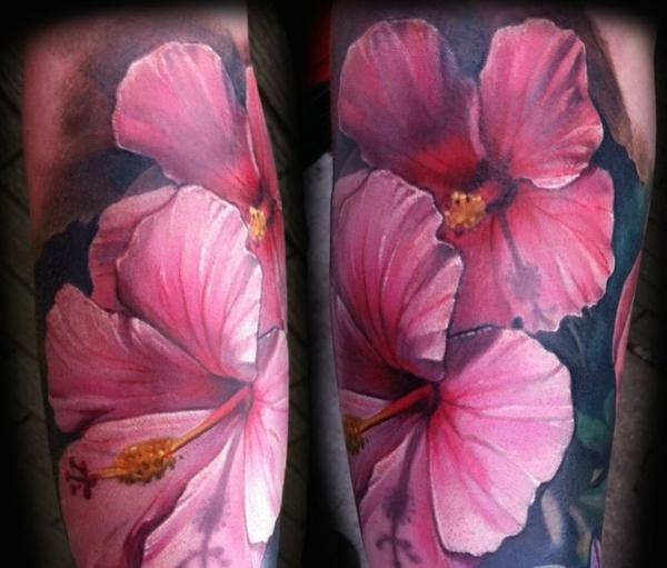 unterarm tattoo ideen rosa blumen