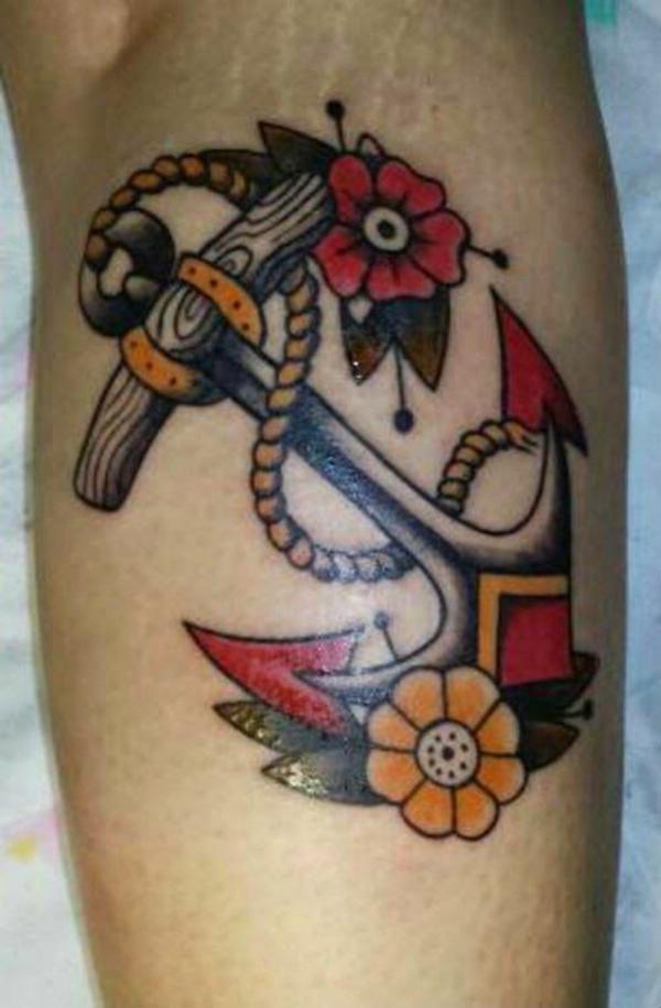 unterarm tattoo für männer motive blumen anker