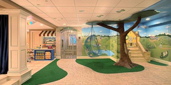 untergeschoss spielraum kinderzimmer gestalten hängesessel