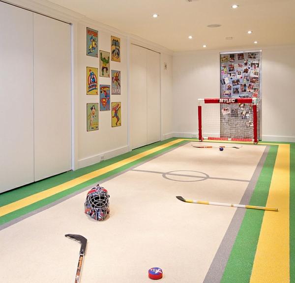 untergeschoss spielraum sport wanddeko