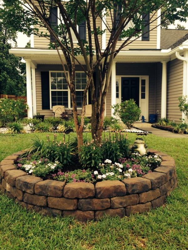 vorgarten gestalten outdoor dekoideen pflanzenbett