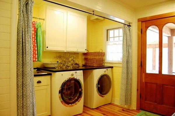 vorhang als raumtrenner waschküche waschmaschinen