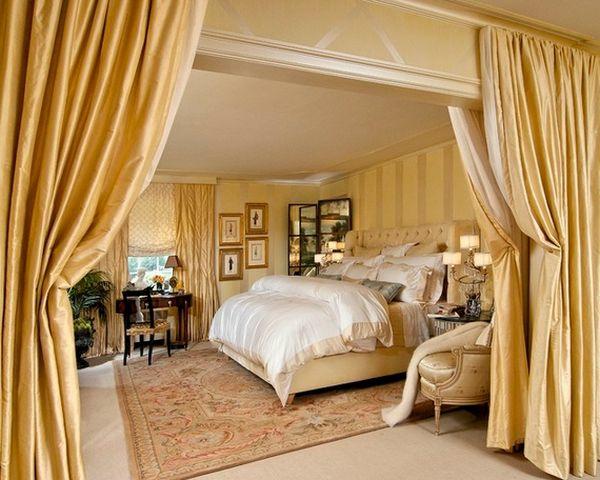 vorhang verdoppelt als raumtrenner schlafzimmer