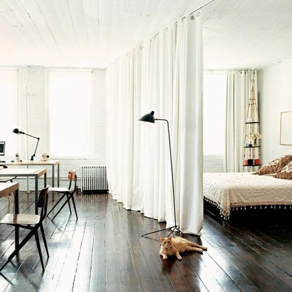 vorhang weiß gardinen trennwand raumteiler ideen