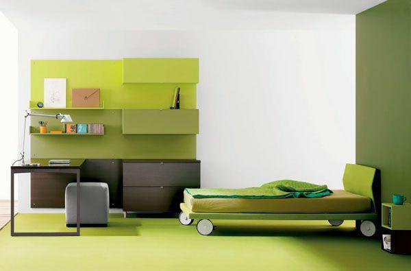 wände streichen wandfarbe olivgrün kinderzimmer modern gestalten