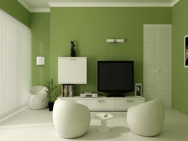 wände streichen wandfarbe olivgrün wohnzimmer weiß grüne farbtöne