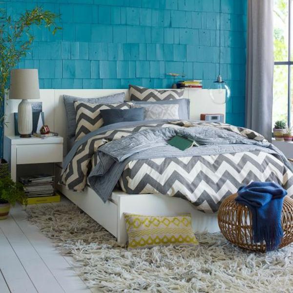 wanddeko schlafzimmer farben Schlafzimmerwand bettwäsche