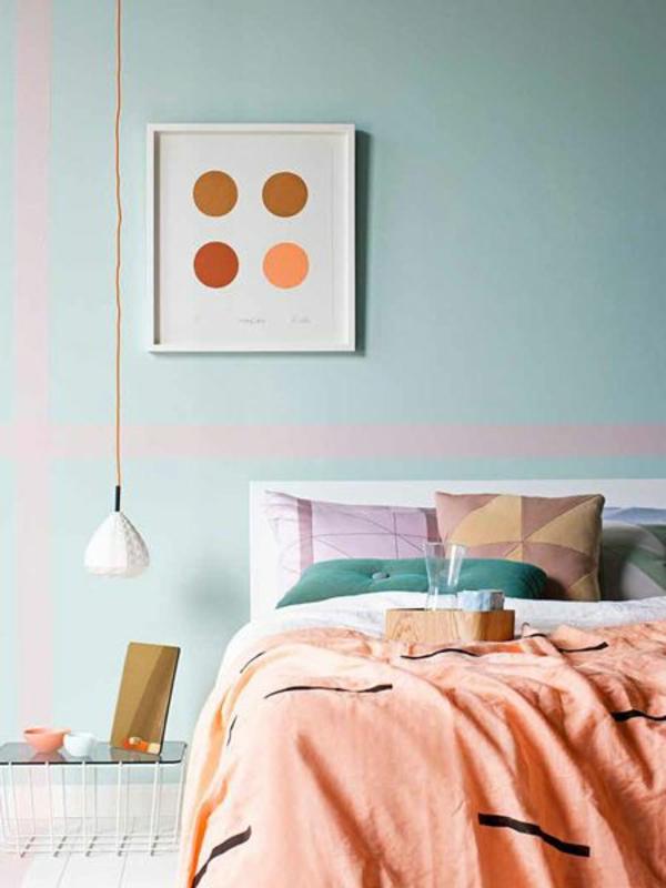 wanddeko schlafzimmer farben Schlafzimmerwand gestalten hängelampe