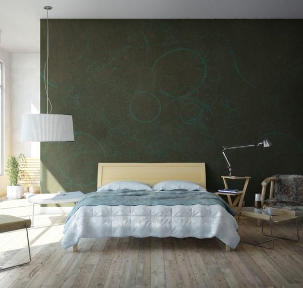 wanddeko schlafzimmer farben Schlafzimmerwand gestalten mattiert