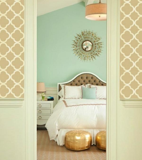 farben Schlafzimmerwand wanddeko sonnenspiegel