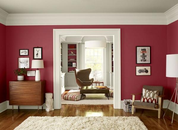 Wandfarbe Beere   Trendy Farbtöne Für Eine Moderne Wandgestaltung,  Wohnzimmer