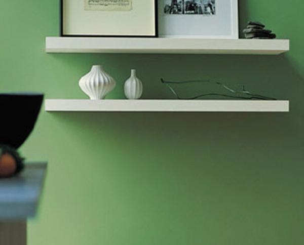 wandfarbe grün wandgestaltung ideen offene wandregale wände streichen