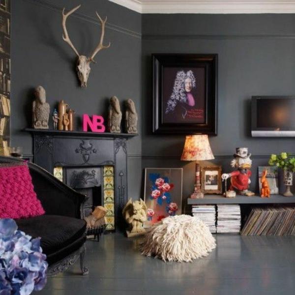 wandfarbe grautöne wohnzimmer dekoideen bilder kamin
