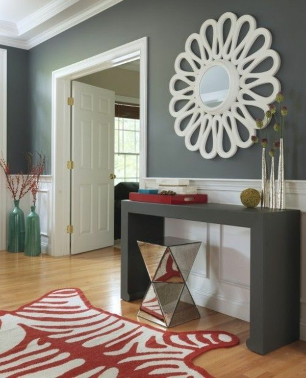 wandfarbe grautöne wohnzimmer design dekoideen roter teppich